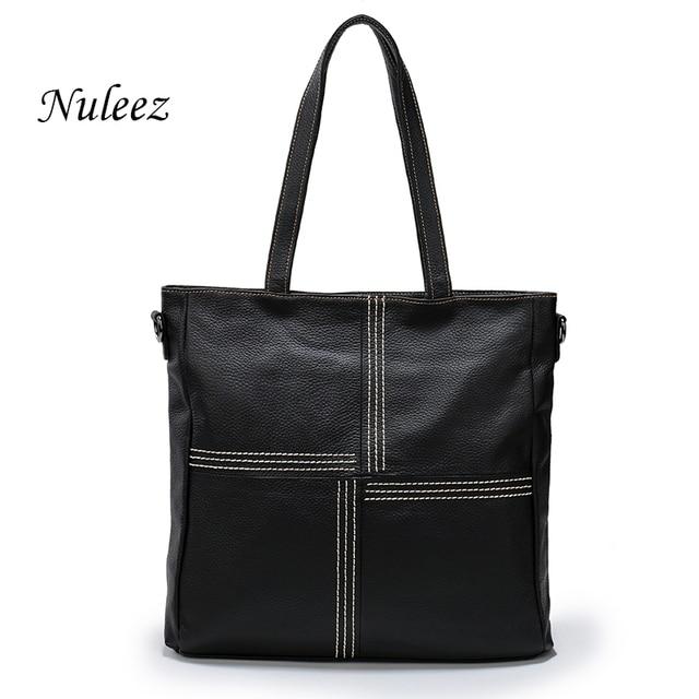 Nuleez Brand Red Black Large Women Handbag Genuine Leather Tote Bag Trend Casual Las Shoulder