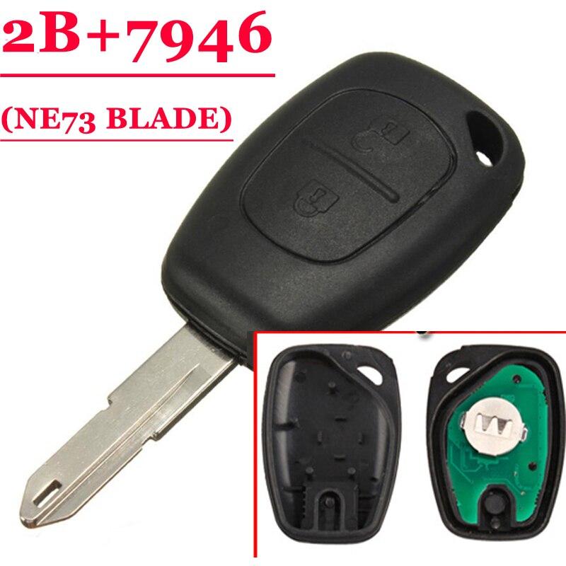 Frete grátis (1 peça) 2 botão remoto chave pcf7946 chip com lâmina chave ne73 para renault tráfego