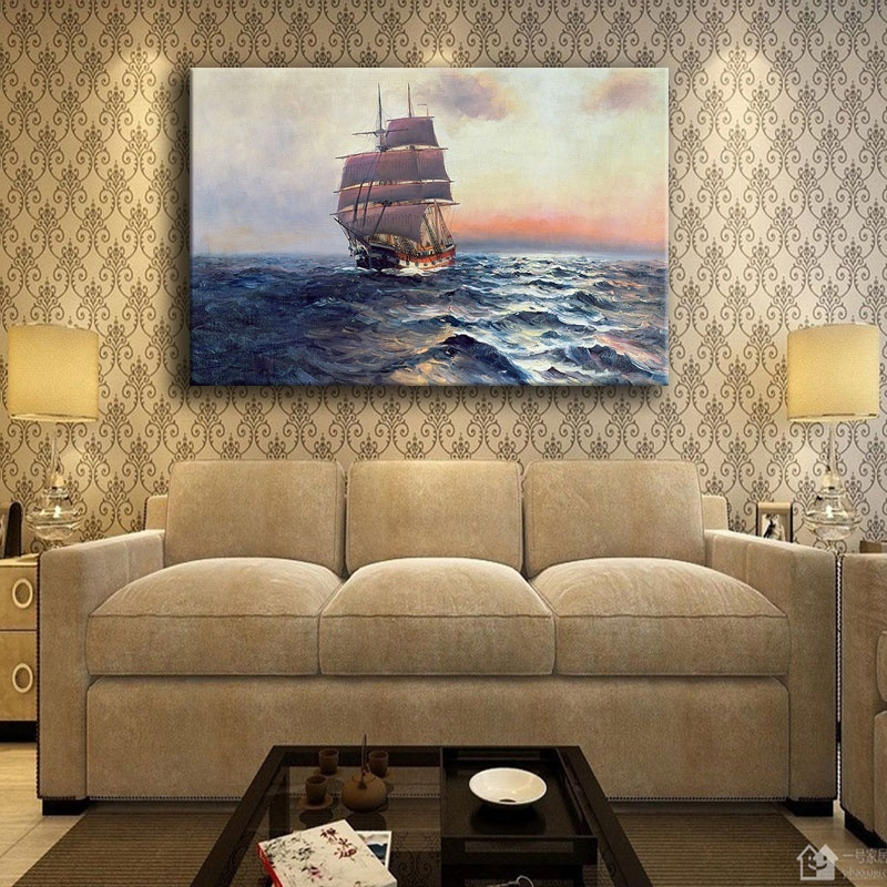 Modern HD Print Type Seascape Wave Painting For Living Room Wall Artwork Decorative 1 Panel Sailboat At Sea Landscape Picture in Painting Calligraphy from Home Garden