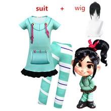 New Clothes Vanellope Von Schweetz Halloween Costume Wreck It Ralph2 Ralph Breaks The Internet Clothing for Baby  Girls Kids wig