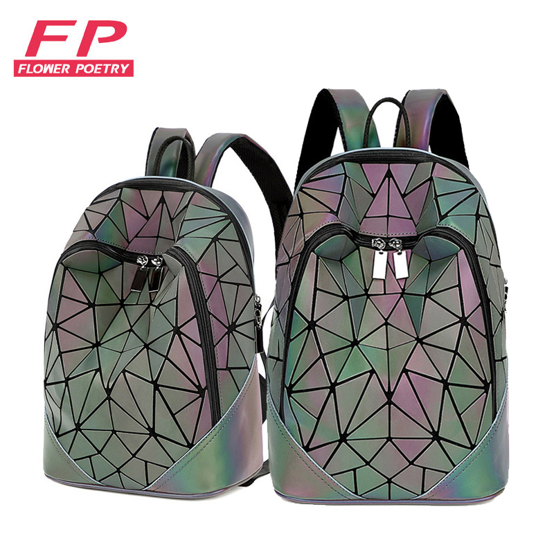 New Women Backpack Geometric Folding Bag Small Students School Bags For Teenage Girls Luminous Backpacks Hologram Daily Backpack