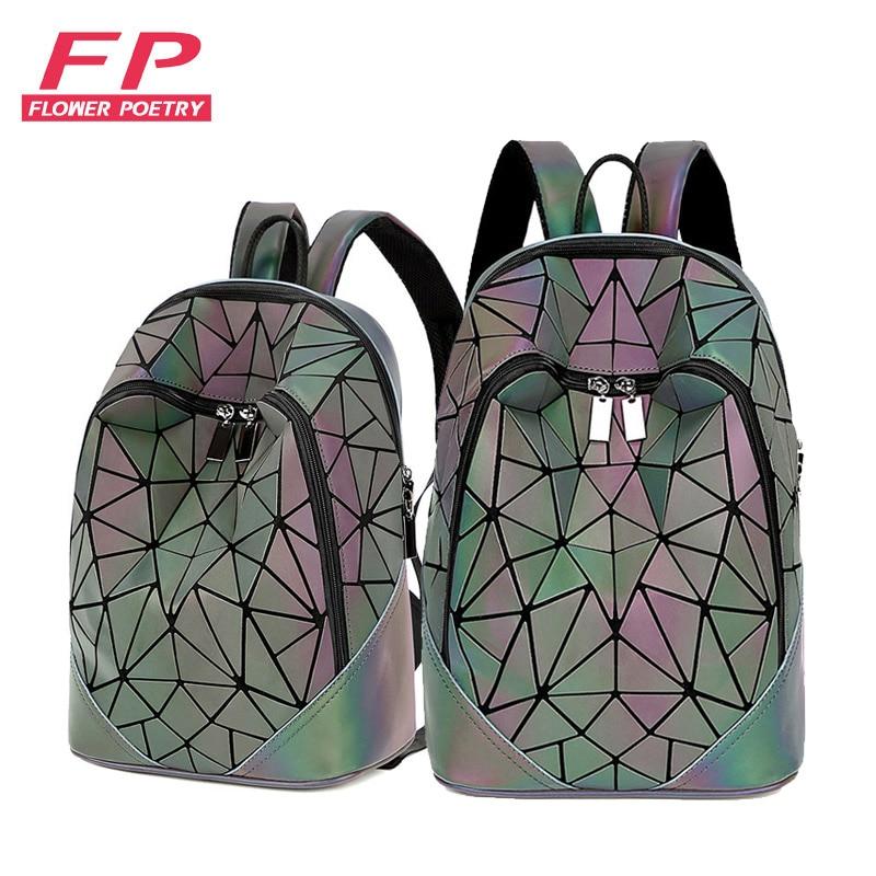 New Women Backpack Geometric Folding Bag Small Students School Bags For Teenage Girls Luminous Backpacks Hologram Daily Backpack