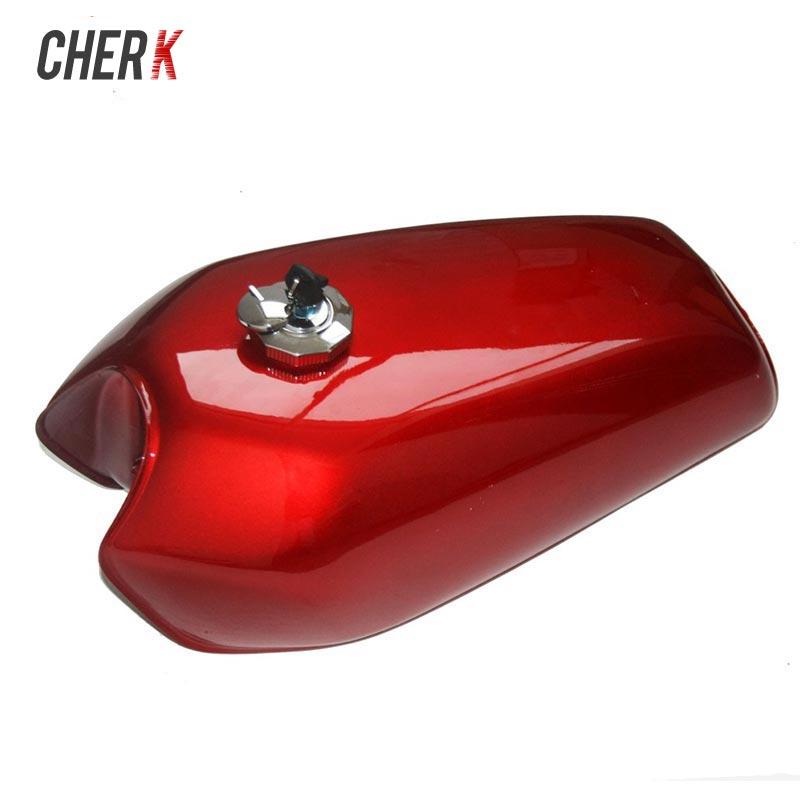 Cherk Moto 9L Rouge Gal Café Racer Gaz Capacité Universal Réservoir de Carburant Réservoir Épais Chapeau De Fer Commutateur Pour Honda CG125 CG125S CG250