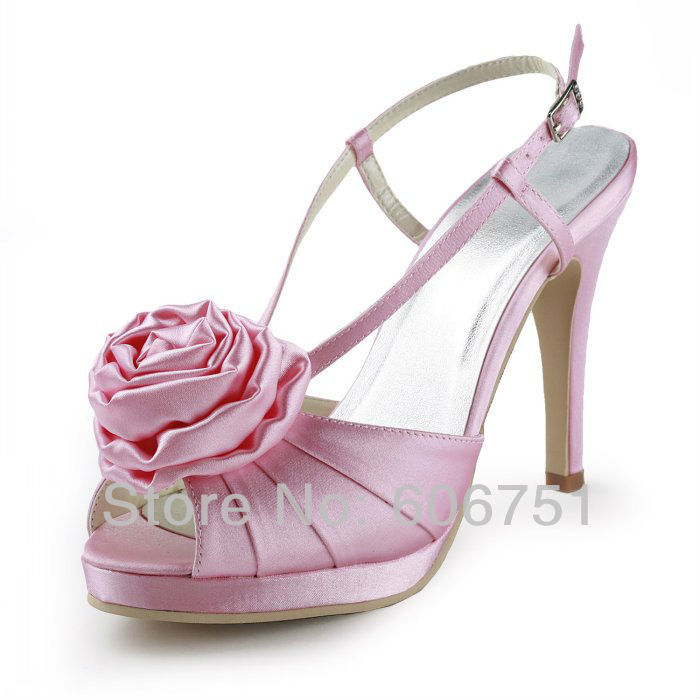 Pink Satin Platform High Heels Flower Wedding Bridal Party