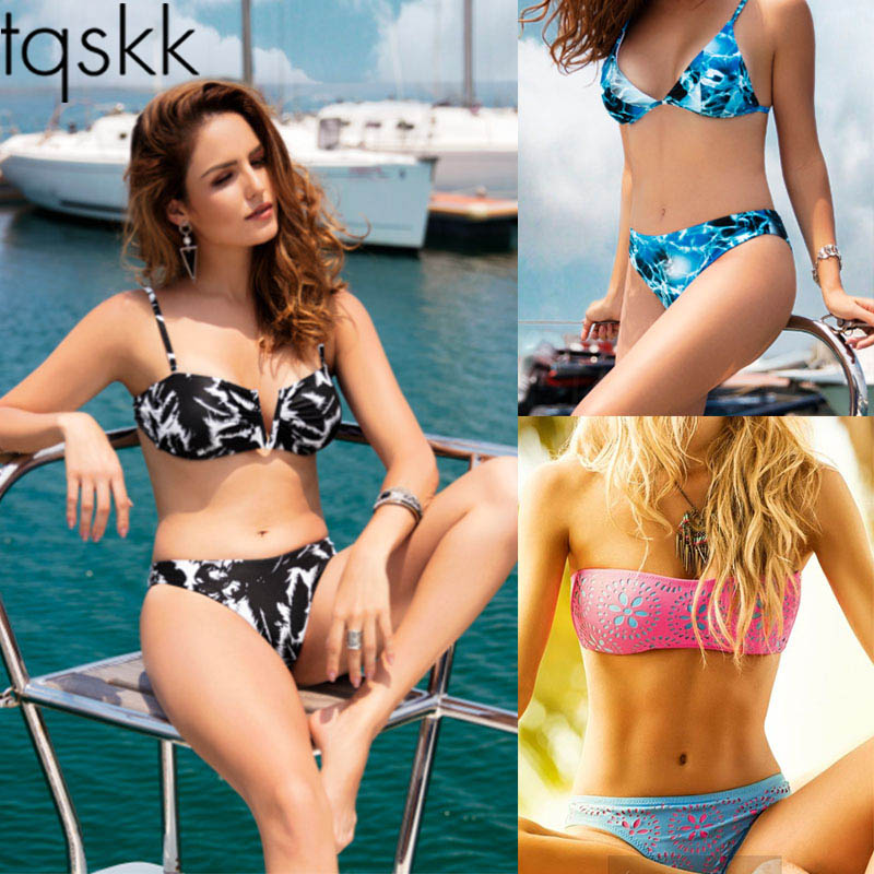 TQSKK 2017 New Push Up Bikinis Women Swimsuit Female Swimwear Halter Sexy Brazilian Beach Wear Retro Print Bathing Suits Biquini new women sexy brazilian bikinis brand beach swimsuit bright colors halter tube