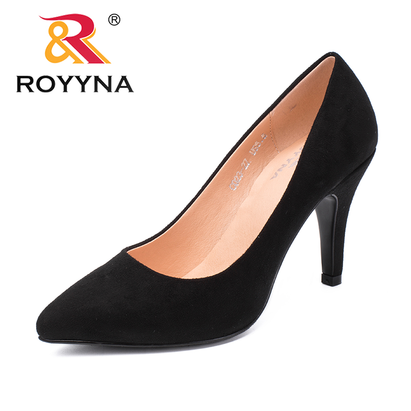 ROYYNA New Arrival Concise Style Women Pumps Pointed Toe Women Dress Shoes Flock Women Office Shoes Comfortable Free Shipping concise flock and round toe design pumps for women