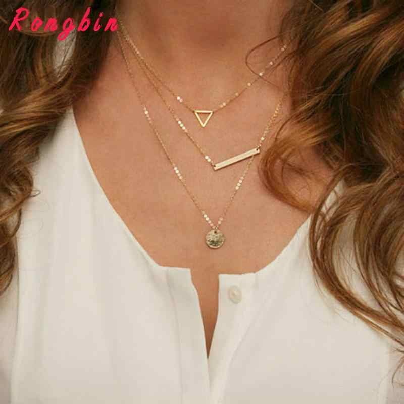 Hot Fashion Gold Multilayer Coin Tassels Lariat Bar Necklaces Beads Choker Feather Pendants Necklaces For Women