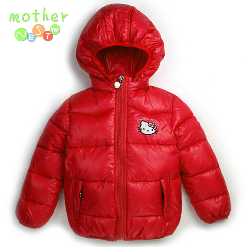 Retail 2 7Y New Children Winter Outerwear Clothing Girls Hello Kitty Cartoon Jackets Coat Baby font