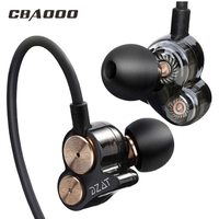 Earphone Bass Double Dynamic Headsets Sport Stereo Headphone DJ HIFI 3.5mm Earbuds Earphones for xiaomi