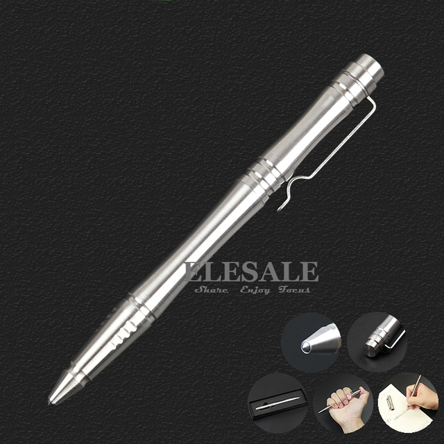 New Full Stainless Steel Tactical Pen With Tungsten Steel Head For Self Defense Weapon Writing EDC Tool Ball Point Pen Gift Box
