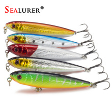 5pcs/lot Pencil Fishing Lures 3D eyes 8CM 9G 6# Treble Hooks 5 colours Plastic Wobbler Artificial Hard Bait Floating Surface