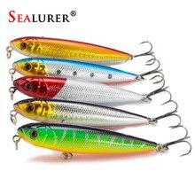 SEALURER 5pcs/lot Pencil Fishing Lures 3D eyes 8CM 9G 6# Treble Hooks  Plastic Wobbler Artificial Hard Bait Floating Surface