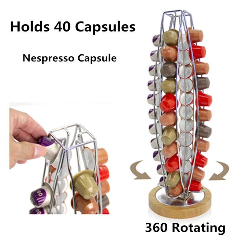 2019 Nespresso Coffee Pods Holder Rotating Rack Coffee Capsule Stand Dolce Gusto Capsules Storage Shelve Organization Holder