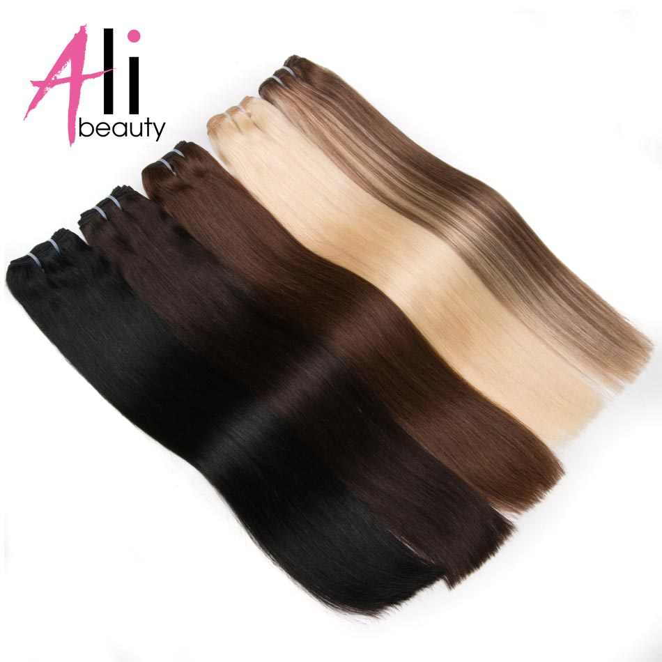 "ALI-BEAUTY Straight Human Hair Weave Bundles Remy Hair Weft Blonde Human Hair Extensions 100G/Piece 18-26"" Can Curly"