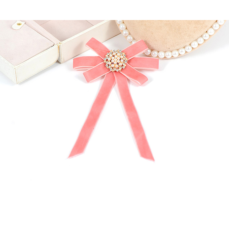 Zhini New Design Pink Brooches Ribbon Trendy Bow Vintage Collar Pins Shirt Tie Cravat Wedding Jewelry Women Gifts Party In From
