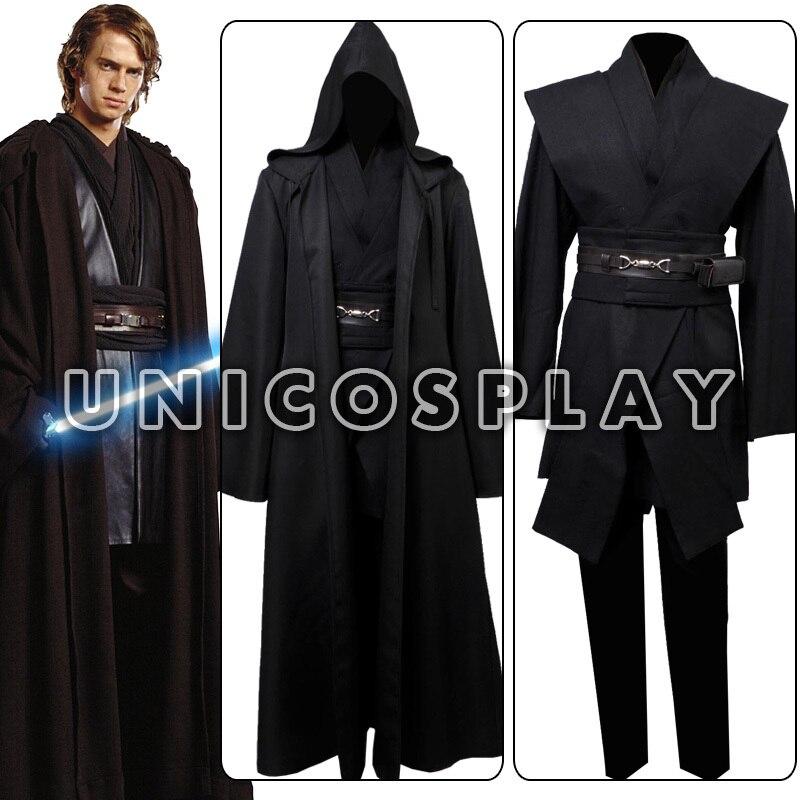 Star Wars Robe Costume Anakin Skywalker Jedi Cosplay Tunic Black Cape Halloween Cloak Uniform For Adults