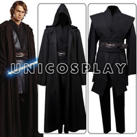 Star Wars Traje Robe Jedi Anakin Skywalker Cosplay Túnica Preta Capa Manto Halloween Uniforme Para Adultos Homem Custom Made