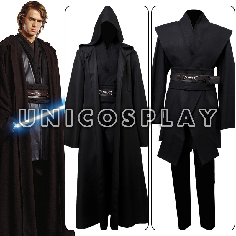 aliexpresscom buy star wars robe costume anakin skywalker jedi cosplay tunic black cape halloween cloak uniform for adults man custom made from reliable