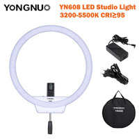 YongNuo YN608 LED סטודיו אור טבעת 3200 K ~ 5500 K מנורת תמונה אלחוטי מרחוק וידאו אור CRI> 95 עם תיק נשיאה ומתאם מתח