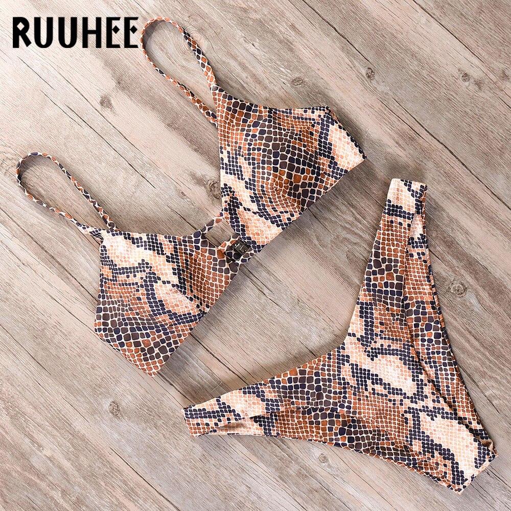 RUUHEE Swimwear Bikini-Set Bathing-Suit Marble Printed Push-Up Summer Brazilian Beach-Wear