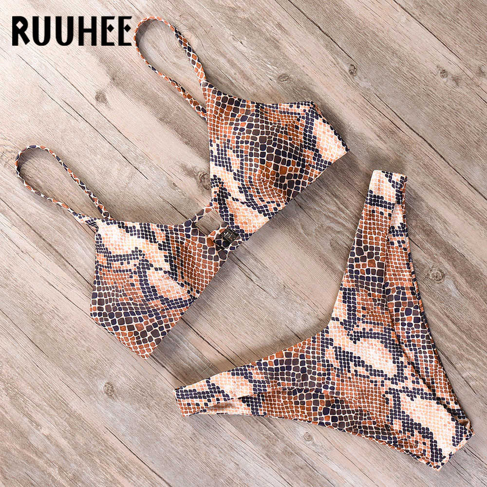 RUUHEE Bikini 2019 Swimwear Women Swimsuit Brazilian Bikini Set Marble Printed Bathing Suit Push Up Low Waist Summer Beach Wear