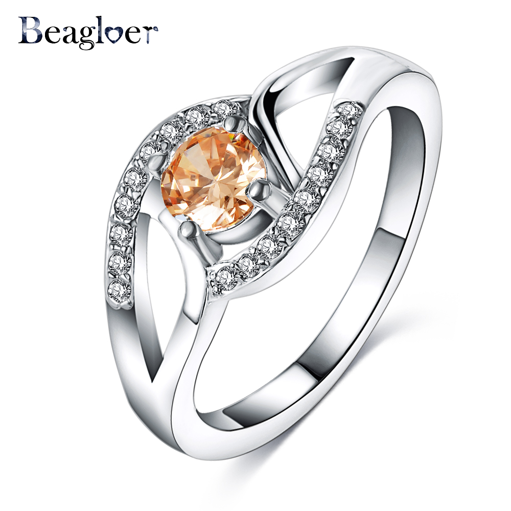 beagloer forever love wedding band rings champagne color zirconia stone jewelry for women silver color ring