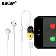 Cabo de carregamento Adaptador Dual 8 2 em 1 Splitter Para Relâmpago Pin Charger Converter For iPhone 7 8 Plus X mini Conector do Fone de ouvido