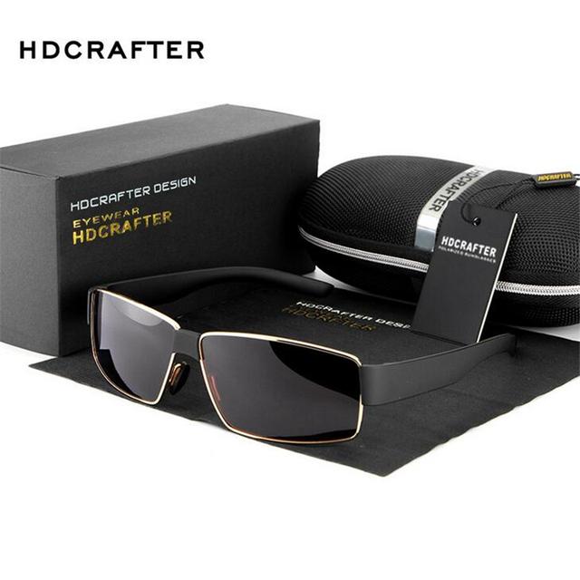 Hdcrafter verão estilo homens moda óculos de sol quadrados 5 cores dos óculos de sol óculos homens espelho vento óculos de polarização