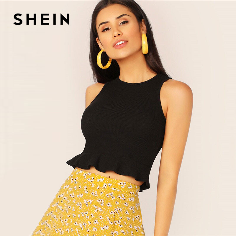 SHEIN Rib-Knit Peplum Crop   Top   Women Clothing Slim Fit Stretchy Round Neck   Tank     Top   Elegant Solid Sleeveless Summer Ladies   Tops