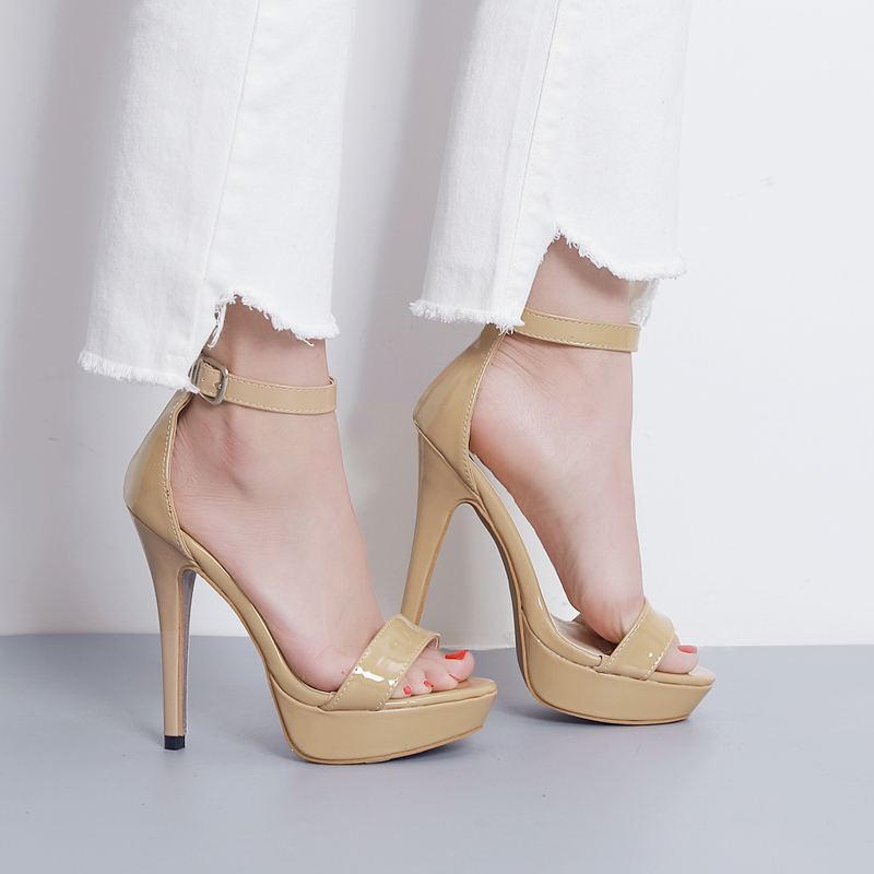 2017 Summer Sexy Girl Fashion Succinct  Shiny PU Leather Platform Thin High Heels Women Sandals Peep Toe Woman Wedding Shoes