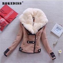 Large Fur collar shirt wool coat,blends,fashion outerwear&coats,double breasted winter coat,winter jacket female coats TG093