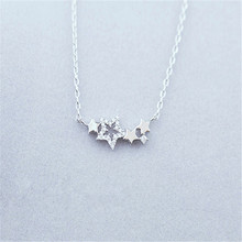 Silver necklace female cute star silver ornament small delicate gift The womens fashion jewelry
