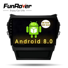 Funrover 9″ QuadCore Android 8.0 2 din Car DVD Multimedia Player gps navi Radio Stereo For Hyundai IX45 ix45 Santa FE 2013 2016