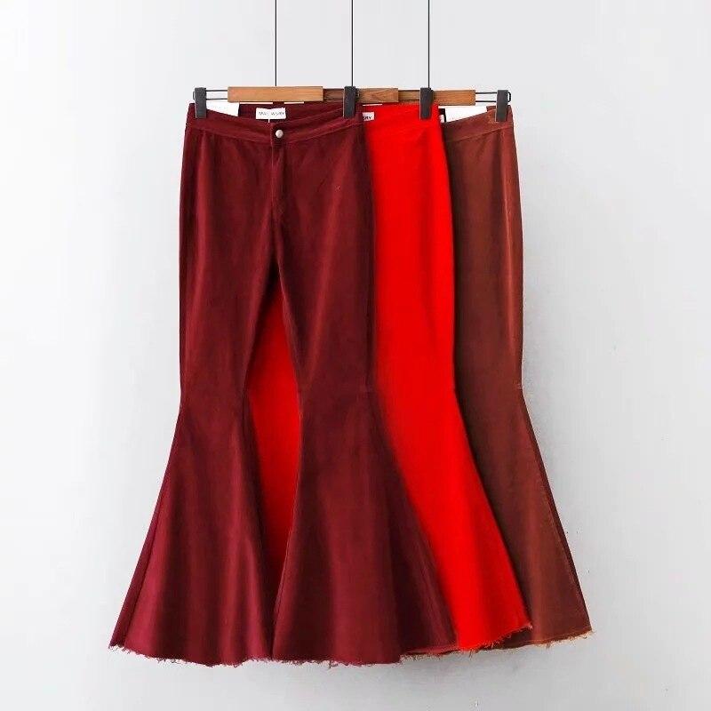 Winter Retro Women Brown High Bell Bottom Flare burgundy Vintage Pants Trousers Waist red Autumn Corduroy RIxPnTq