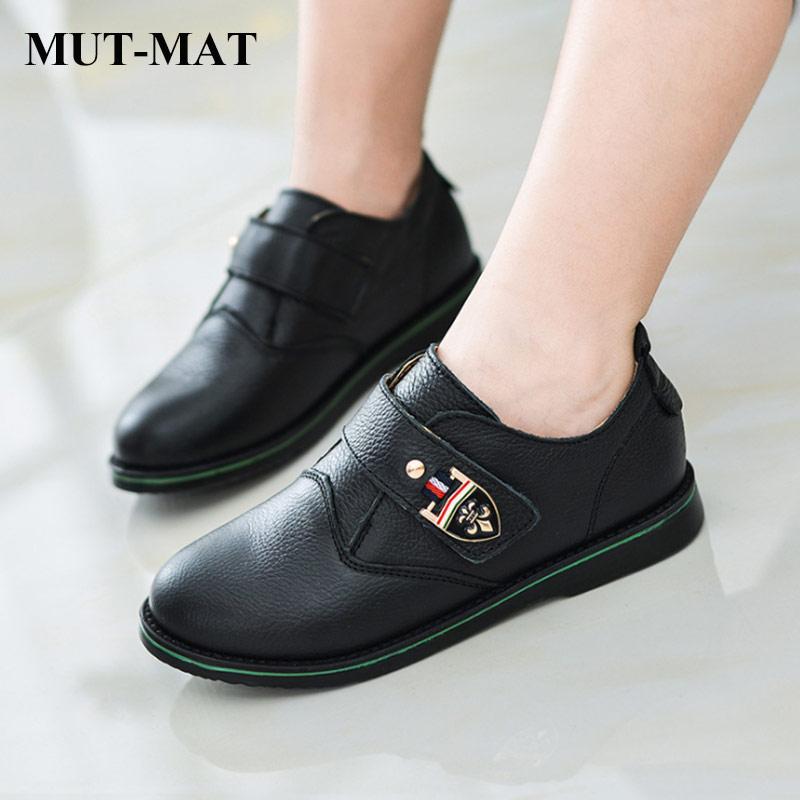 2019 Spring Kid Shoes Children Leather Shoes Boy's Metal Button Retro Design Shoes Fashion Soft Bottom Shoes