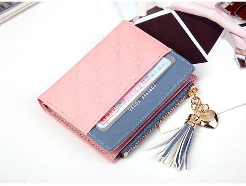 Leather Small Wallet Women Mini Women Wallets Purses Female Short Coin Zipper Purse Holder Tassel Zipper Button Bag (18)