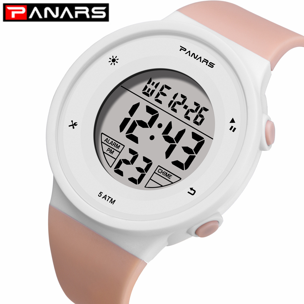 PANARS Colorful 6 Colors LED Fashion Watches WR50M Waterproof Kids Wristwatch Alarm Clock Multi-function Watches For Girls Boys