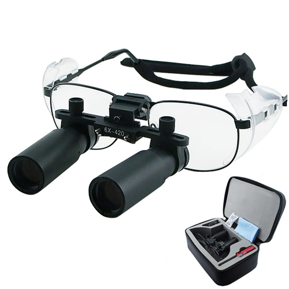 6.0x 6x Binocular quirúrgico odontología médica titanio marco 420mm Distancia de trabajo Keplerian Prism estilo lupas dentales