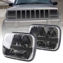 Par 5x7 7x6 polegada retangular selado feixe led farol preto para jeep wrangler yj cherokee xj h6014 h6052 h6054