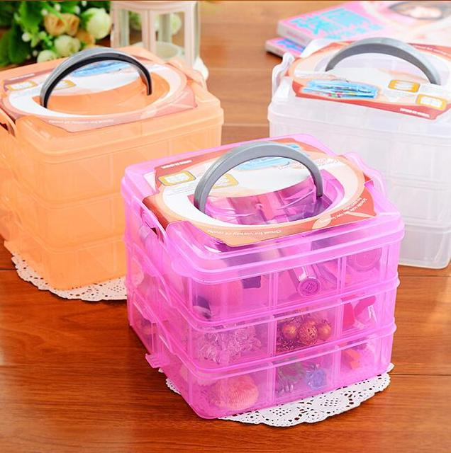 Eco Friendly Makeup Organizer Three Removable Transparent Plastic Storage  Box Grid Cosmetic Hair Accessories Multi