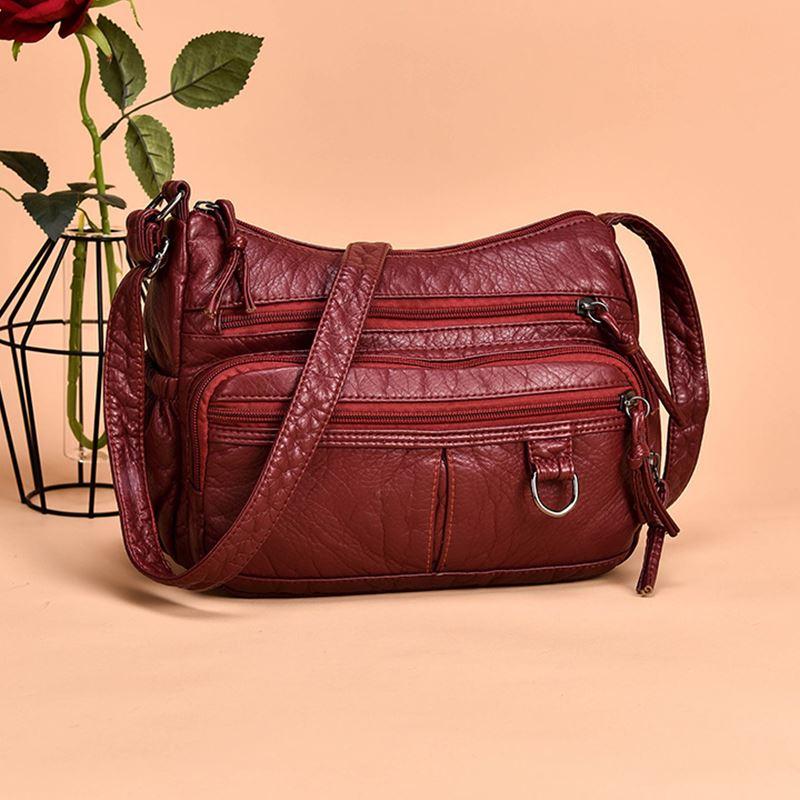 Annmouler Women Small Bag Pu Leather Crossbody Bag Multipockets Soft Washed Leather Shoulder Bag 2 Colors Messenger Bag
