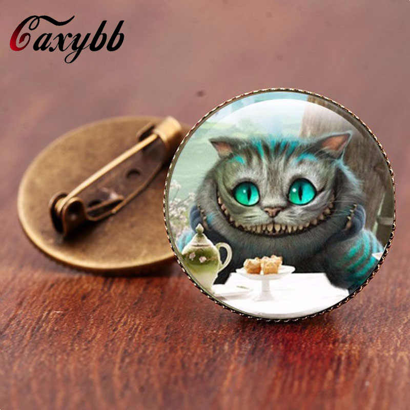 Gaxybb Cheshire Cat brooch Vintage Bronze brooches High quality jewelry Glass art pictures free shipping  BR35