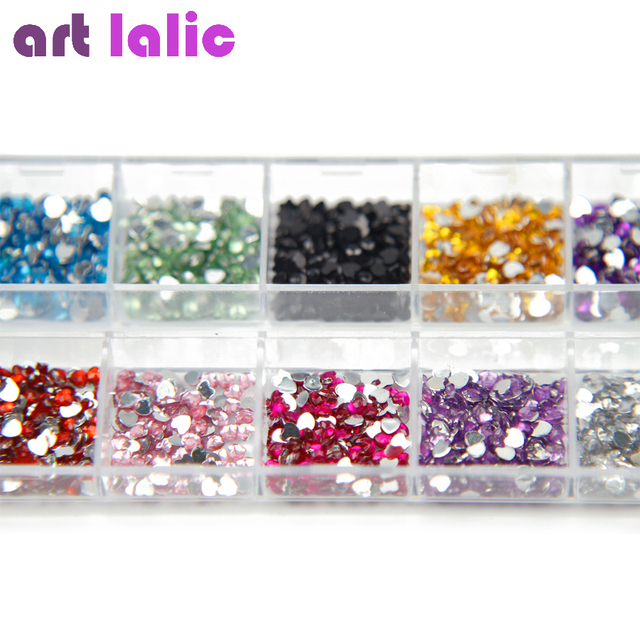 3000 Pcs Heart Shape Crystal Rhinestones Nail Art Gems With Case For ...