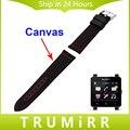 24mm Canvas + Genuine Leather Watchband for Sony Smartwatch 2 SW2 Smart Watch Band Fabric Strap Wrist Belt Bracelet Black Brown