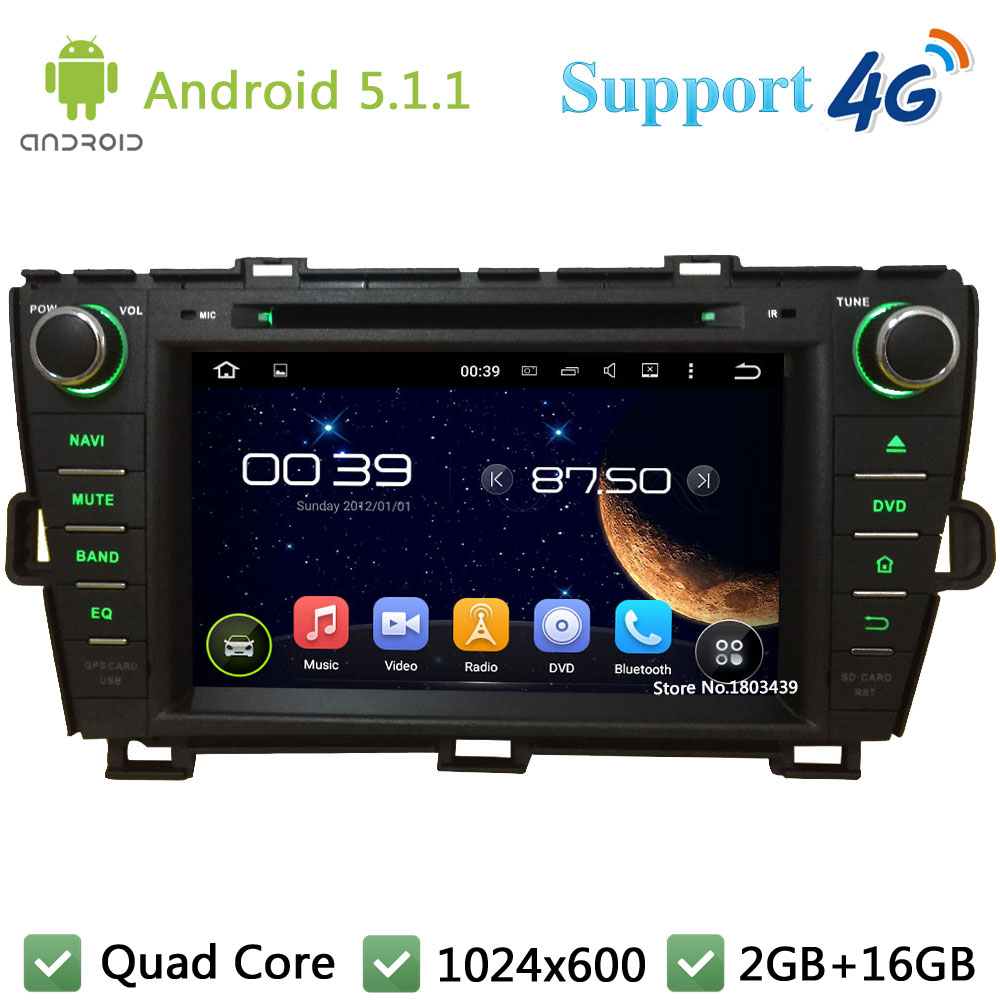 Quad Core 1024*600 Android 5.1.1 Car DVD Player Radio Screen DAB+ BT 3G/4G WIFI GPS Map For TOYOTA Prius Right driving 2009-2015