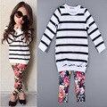 2016 Otoño Invierno de Los Niños Conjunto de Rayas de la Camisa Floral + Pantalones Largos Juegos de Chicas Moda Niños ClothesCasual 2 unids/set H00249