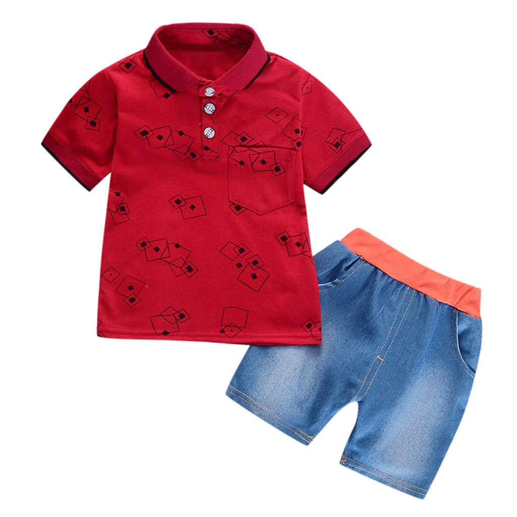 Infant Baby clothes set Children Summer Boys Clothes Gentleman Geometric Shirt Print Denim Shorts 2PC Set Outfits Dropshipping