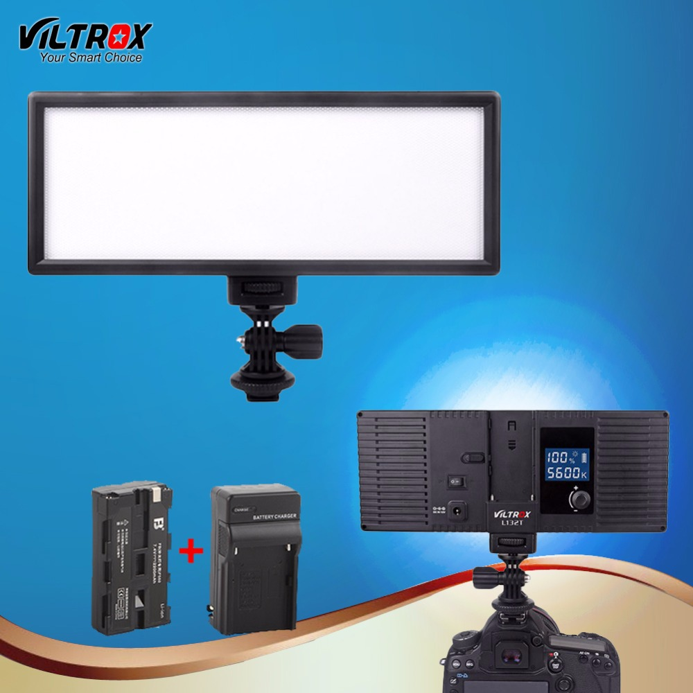 Viltrox L132T LED Studio Video LED Light Lamp Ultra Thin Bi-Color& Dimmable Adjustable Luminance for DSLR Camera+Battery+Charger image