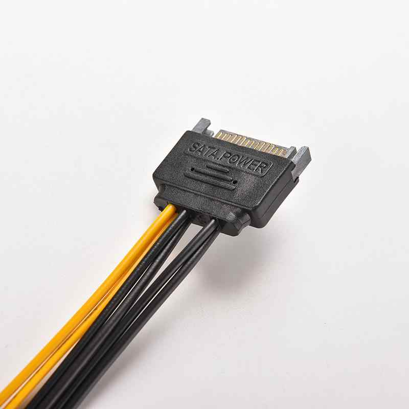 1 PC SATA 15 ピンオス ATX 6 ピン PCI-Express 、 Pci-E グラフィックスカードの電源アダプタケーブル接続ワイヤーコード変換 20 センチメートルの長さ