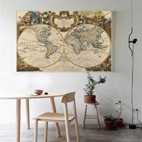 Vintage Style Poster Retro Reise World Map Wall art Aufkleber Ozean Karte Klassischen Print Bild Dekorative Leinwand Malerei Öl Kunst